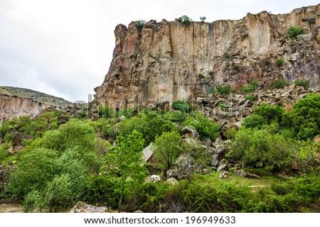 Mountain landscape Canyon Ihlara, Cappadocia Green tour, Turkey - stock photo