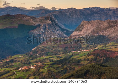 Mountain landscape, Carranza, Encartaciones, Bizkaia, Spain - stock photo
