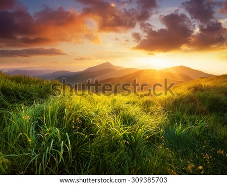 Mountain landscape during sunrise in the summer time. Natural summer landscape - stock photo