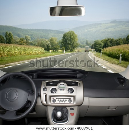 Mountain landscape -from the car - stock photo