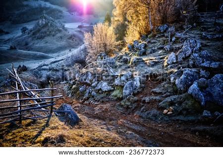 mountain landscape in  autumn morning  - Fundatura Ponorului, Romania - stock photo