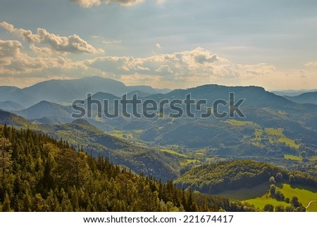 Mountain landscape in hazy weather, soft natural background. - stock photo