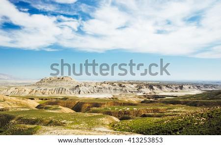 Mountain landscape in spring season - stock photo