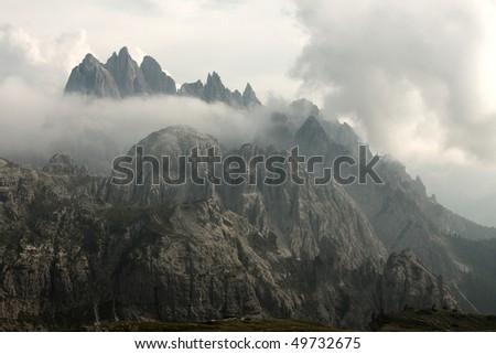 Mountain landscape in the Dolomites mountain range - stock photo