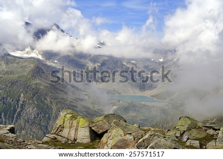 Mountain landscape in the Gran Paradiso National Park in the Alps, Italy - stock photo