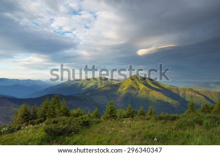 Mountain landscape in the morning. Fir forest on the slope. Beautiful top. View of the Romanian mountain Farkau border with Ukraine and Romania. Carpathians - stock photo