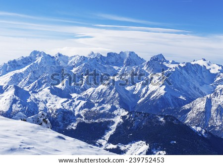 Mountain landscape in the region 4 Vallees, the Swiss Alps. - stock photo