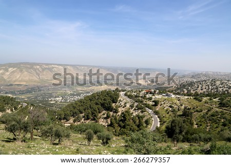 mountain landscape, Jordan, Middle East  (photography from a high point) - stock photo
