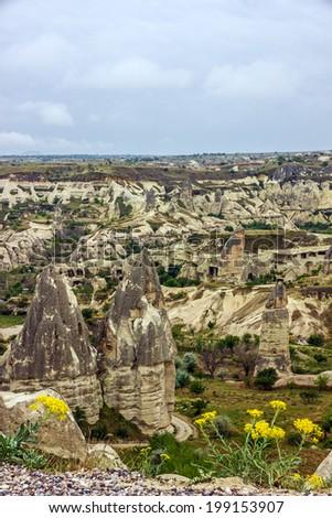 Mountain landscape, Love valley, Cappadocia, Turkey - stock photo