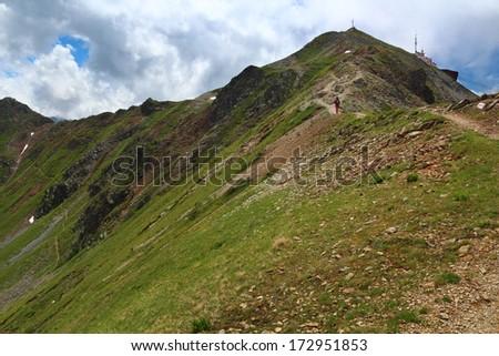 Mountain landscape near Jakobshorn summit, Davos, Switzerland - stock photo
