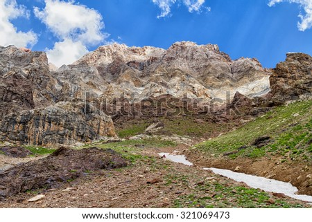 Mountain Landscape of Fan Mountains in summer, Tajikistan, Central Asia - stock photo