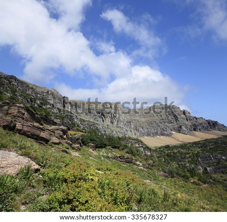 Mountain Landscape on the Trail to Hidden Lake, Glacier National Park - stock photo