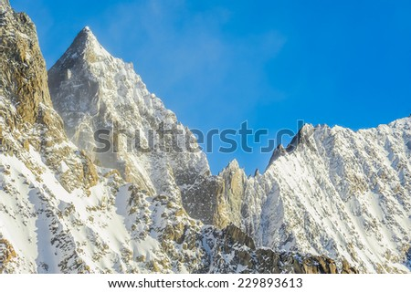 Mountain landscape shoot from the panoramic terrace of mont blanc cableway italian side. - stock photo