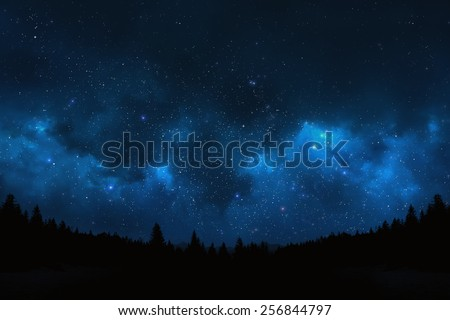 Mountain landscape showing pine trees against a night sky shot of the universe filled with stars - stock photo