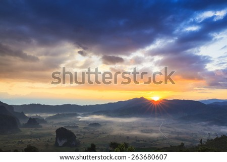 Mountain landscape sunrise - stock photo