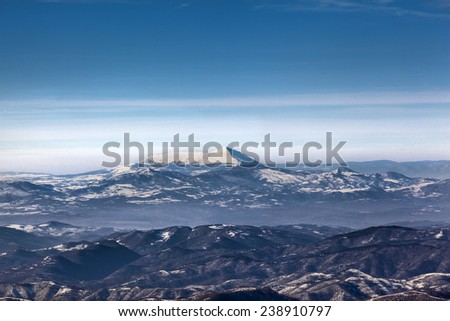 mountain landscape winter - stock photo