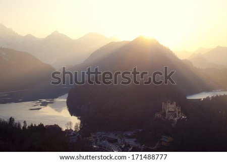 Mountain landscape with a Hohenschwangau Castle in Bavaria, Germany - stock photo