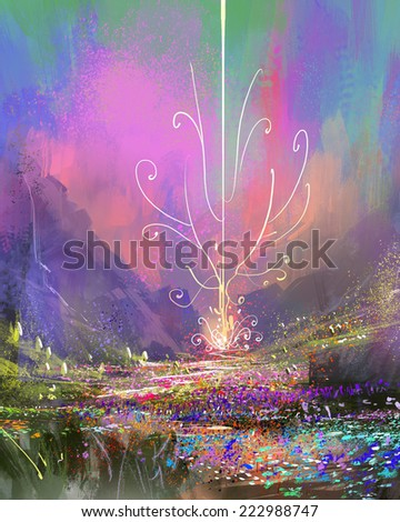 Mountain landscape with blossoming field,abstract digital painting - stock photo