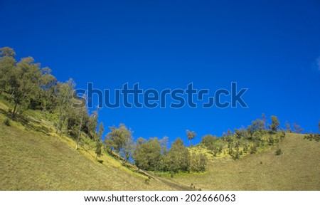 Mountain Landscape with blue sky Semeru Volcano Mountain, East Java, Indonesia. Semeru Mountain also known as Mahameru Mountain in Indonesia means the great mountain. - stock photo