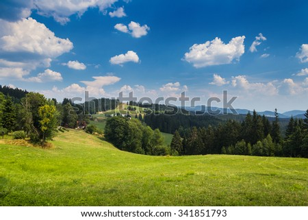Mountain landscape with clear blue sky and small clouds- Moravian-Silesian Beskydy - stock photo