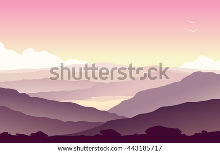 Mountain landscape with grass and huge lake. Wild nature at sunset. Raster illustration. - stock photo