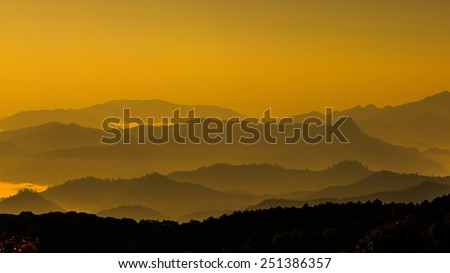 mountain layer level in thailand - stock photo