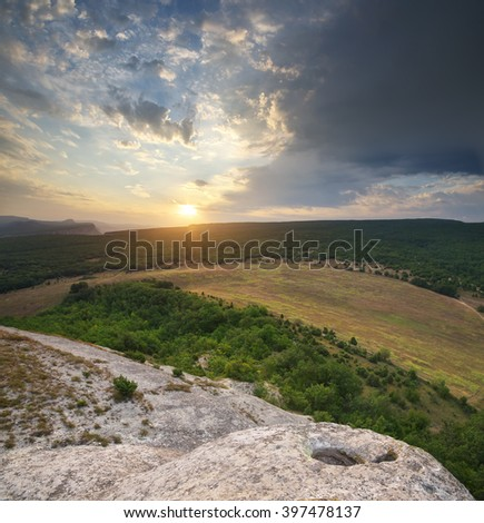 Mountain nature panorama. Composition of nature. - stock photo
