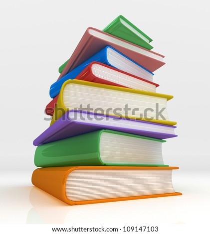 Mountain of Books Low perspective view of a towering pile of books - stock photo