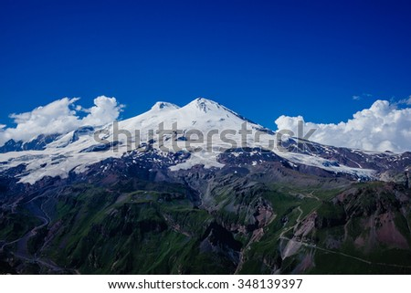 Mountain of Elbrus. View from Cheget. Caucasus, Russian Federation - stock photo