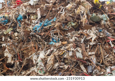 mountain of metal ready for recycling - stock photo
