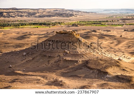 Mountain on the sunset near the Bahariya Oasis in the Sahara Desert in Egypt - stock photo