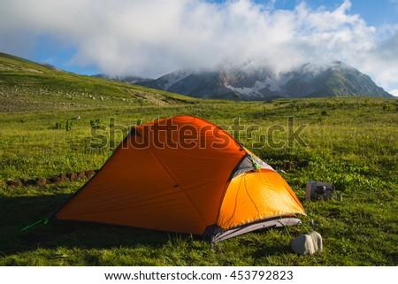 Mountain Oshten in Caucasus under blue sky - stock photo