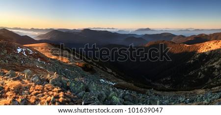 Mountain panorama at sunset with path - Low Tatras ini Slovakia - stock photo