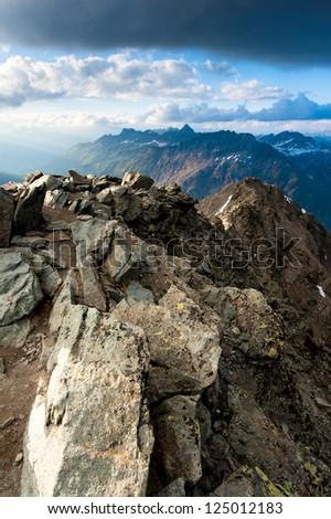 Mountain panorama from Mont Pers, Diavolezza, Switzerland - stock photo