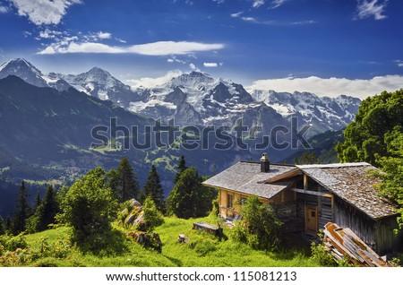 Mountain Panorama in the Swiss Alps, Switzerland - stock photo