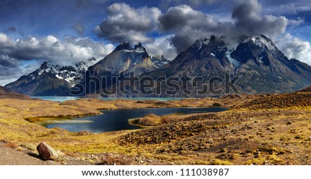 Mountain panorama, Torres del Paine National Park, Patagonia, Chile - stock photo