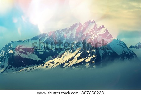 Mountain peak - stock photo