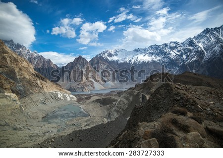 mountain peak on the way to passu glacier, Hunza Valley, northern area of Pakistan - stock photo