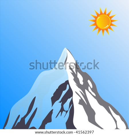 Mountain Peak with sun - stock photo