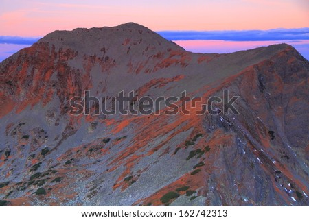 Mountain peaks before dawn - stock photo
