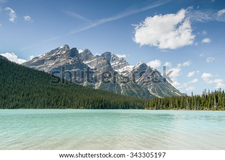 Mountain peaks from the shore of Peyto Lake, Banff National Park, Alberta, Canada - stock photo