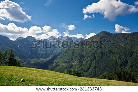 Mountain peaks Slovenia Alps - Sunny day meadow - stock photo