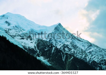 mountain peaks with eternal snow and ice ,travel concept - stock photo
