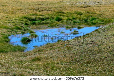 Mountain Pond reflects the blue sky - stock photo