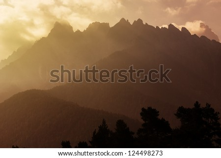 Mountain range ar sunset - stock photo