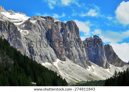 Mountain range, Dolomites, Italy - stock photo