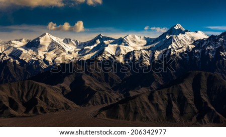 Mountain range in Leh Ladakh, India  - stock photo