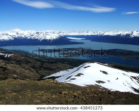 mountain range of the andes in patagonia, Argentina, with lago Argentino and Perito Moreno glacier - stock photo