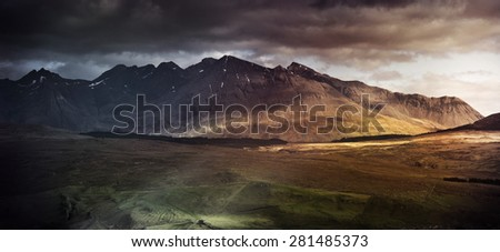 Mountain range on the Isle of Skye, UK - stock photo