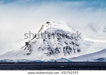 Mountain ranges near Errera Channel in Antarctica - stock photo